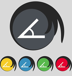 Angle 45 degrees icon sign symbol on five colored vector