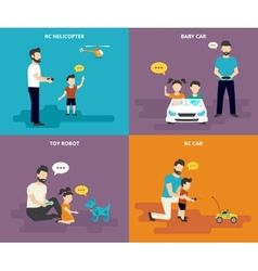 Family with children concept flat icons set vector
