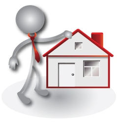 Realtor and red house vector