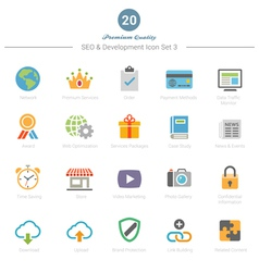 Set of full color seo and development icons set 3 vector