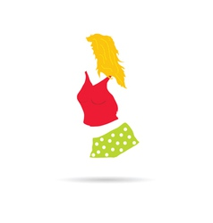 Girl in red shorts vector