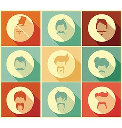 Collection of hipster retro hair styles vector