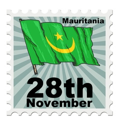 Post stamp of national day of mauritania vector