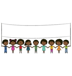 Cheerful happy african-american kids vector