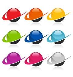Swoosh colorful sphere logo icons vector