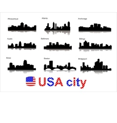 Detailed silhouettes of usa cities vector