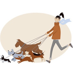 Dog walker vector