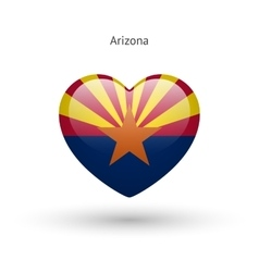 Love arizona state symbol heart flag icon vector