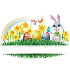 Easter horizontal frame vector