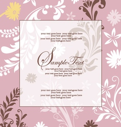 Pink floral abstract invitation card vector