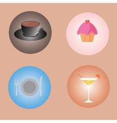 Set of drinks and food vector