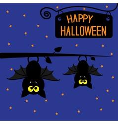 Two hanging bats at night halloween card vector