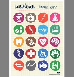 Medical web icons set drawn by chalk vector
