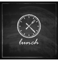 Vintage with clock and cutlery on blackboard vector