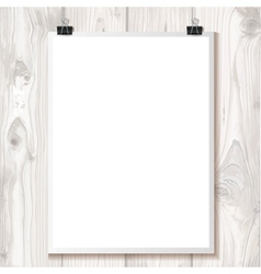 White paper hanging on binder on a background vector