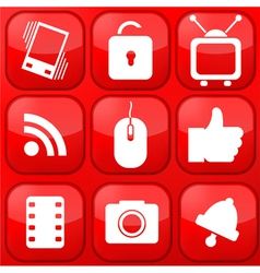 Red technology app icon set eps10 vector