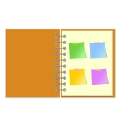 Open notebook with stickers vector