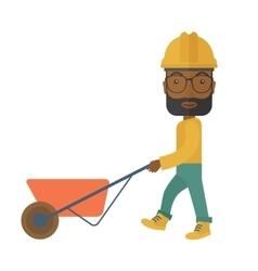 Black gardener pushing a wheelbarrow vector
