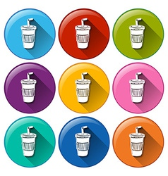 Round buttons with disposable cups vector