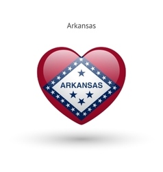 Love arkansas state symbol heart flag icon vector