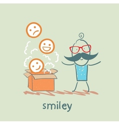 Man opened the box with smiles vector