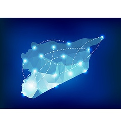Syria country map polygonal with spot lights vector