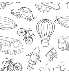 Sketches means of transport boys seamless pattern vector