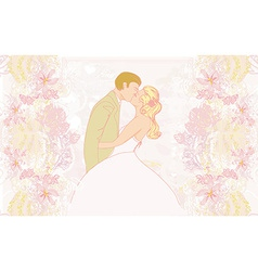 Elegant wedding invitation with wedding kissing vector