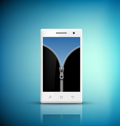 White smartphone with zipper on the screen vector