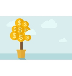 Money plant on a pot vector