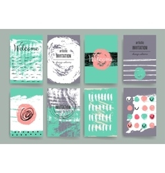 Modern cards design template with grungy rough vector