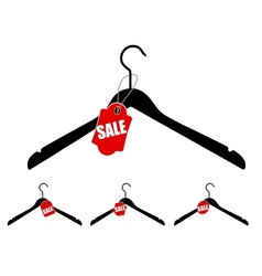 Set of hangers with sale tag vector