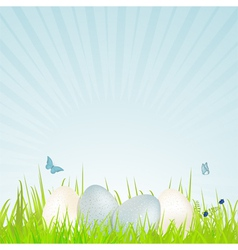 Easter white and blue speckled eggs vector