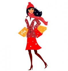 Winter shopping woman in red vector