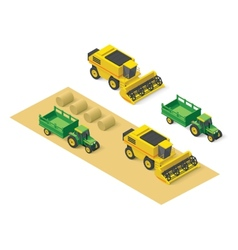 Isometric farm vehicles set vector