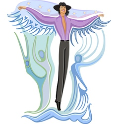 Fashion flying man vector