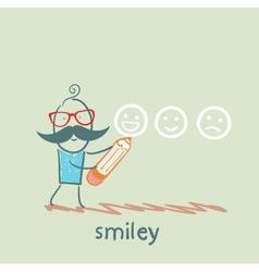 Man with a pencil draws smiles vector