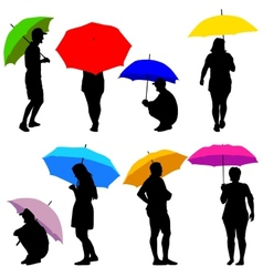 Silhouettes man and woman under umbrella vector