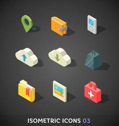 Flat isometric icons set 3 vector