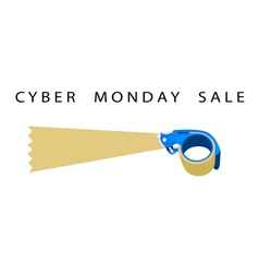 Adhesive tape dispenser with word cyber monday vector