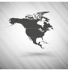 North america map on gray background grunge vector