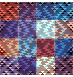 Patchwork with triagles ornament vector