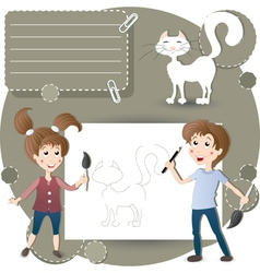 Children in the classroom painting vector