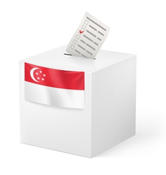 Ballot box with voting paper singapore vector
