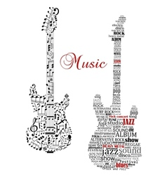 Classic guitars with words and musical notes vector