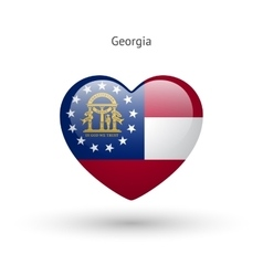 Love georgia state symbol heart flag icon vector