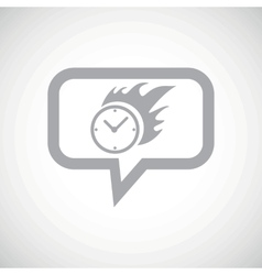 Burning clock grey message icon vector