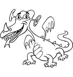 Cartoon monster or dragon for coloring vector