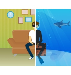 Happy guy is doing scuba diving in virtual reality vector