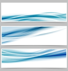 Modern header set with abstract blue wave lines vector